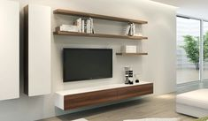 Ikon White + Walnut Floating TV Unit - Medium - Delux Deco