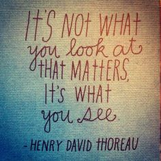 Inspiration: It's not what you look at that matters, it's what you see.