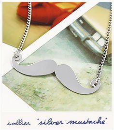Silver mustache - Necklace