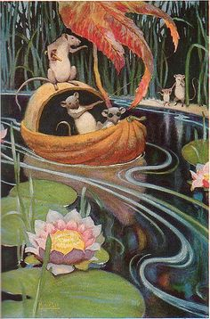"""So the Three Mice Built Themselves a Boat and Set Sail,"" Illustrated by Manning DeV. Lee, from The Blue Fairy Book edited by Andrew land, published by Macrae Smith Company, Philadelphia.  This volume is from the Washington Square Classics, 1926."