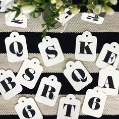 Image of Letterpress 12 pack alphabet & numeral swing tags