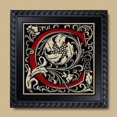 Pretty Red & Black Letter C