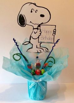 "Snoopy / Charlie Brown Centerpiece stick 8"" image by LoveToFiesta on Etsy"