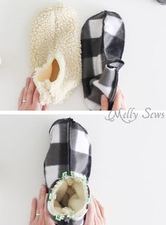Step 3 - Sew Slippers - a Free Pattern and Video Tutorial to make these DIY Slippers for Men, Women, or Kids - Melly Sews