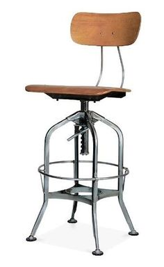 Industrial Metal Swivel Stool Wood Adjustable Height High Back Bar Kitchen Chair #Toledo #ContemporaryIndustrialModernRusticUrban