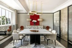 Contemporary Dining Room in London, GB by Achille Salvagni Atelier House Furniture Design, Luxury Furniture, Contemporary Furniture, Luxury Dining Room, Dining Room Design, Dining Rooms, London Living Room, Marble Top Dining Table, Minimalist Dining Room