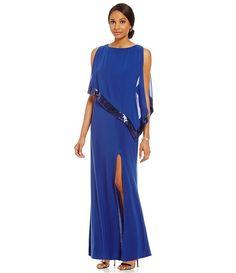 Royal:R & M Richards Sequin-Trim Popover Gown