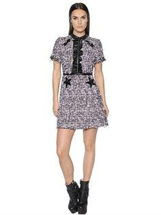 GIAMBA ` Faux Leather Trims Boucle' Dress