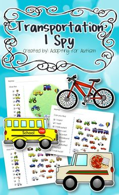 Transportation I Spy games - 3 levels. Created for students with autism and other visual learners. #adaptedgame {Created by Adapting for Autism}