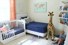 Navy Blue and Orange Shared Boys Room - love the world map wall decor!