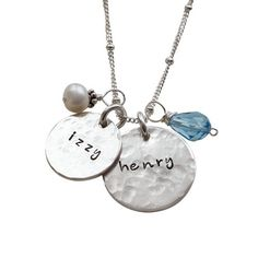 The Hammered Charming Duo Moms necklace is our Best Seller! A truly unique personalized gift for mom with kids names. Shop MyRetroBaby now for mom jewelry.
