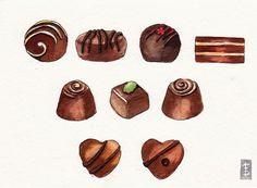 Items similar to Chocolate Truffles Original Watercolor Painting - Food Kitchen Art - x on Etsy Chocolate Drawing, Chocolate Art, Chocolate Truffles, Dessert Illustration, Illustration Art, Chibi Food, Isometric Art, Candy Art, Food Painting