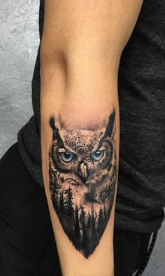 Today we're going to step again into the world of animal tattoos bringing you 50 of the most beautiful owl tattoo designs, explaining their meaning.owl tattoo with double exposure touches © Carlos Samudio ❤🐥❤🐥❤ Wolf Tattoos, Animal Tattoos, Body Art Tattoos, Trendy Tattoos, Unique Tattoos, Small Tattoos, Tattoos For Guys, Owl Tattoo Small, Realistic Owl Tattoo