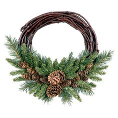 Found it at Wayfair - Pine Cone Grapevine Wreath in Green & Brown.  Great wreath for Christmas at the Cabin.