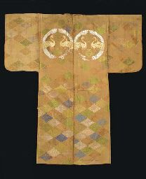Karaori Noh Costume,   Edo period (late 18th-early 19th century)   Crane medallions and floral lozenges on orange ground; silk with supplementary brocading weft patterning