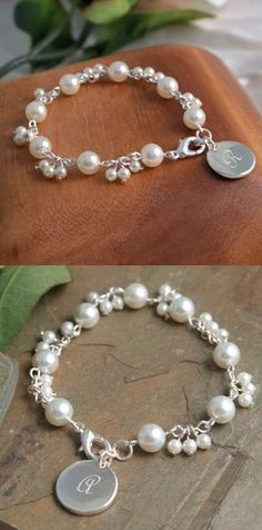 Personalized Romantic Pearl Bracelet image Bridesmaid gift idea....perfect to wear on the big day! #quickweddingplanning21days