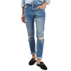 Women's Topshop Lucas Ripped Boyfriend Jeans (4.950 RUB) ❤ liked on Polyvore featuring jeans, mid blue denim, slim fit jeans, ripped boyfriend jeans, cuffed jeans, blue boyfriend jeans and boyfriend jeans