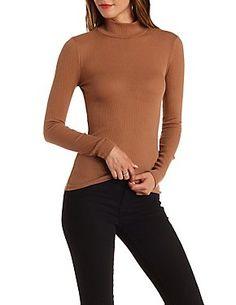 Long Sleeve Ribbed Turtleneck Top