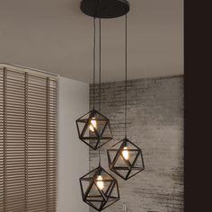 Hanglamp Sia 3-lamps triangel, kleur zwart - 8144/44    Meubelpartner