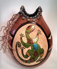 Gourd Art Vase  Native American Gecko carved by NaturalArtbyDani, $90.00