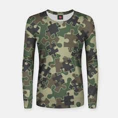 Jigsaw Puzzle Pieces Camo WOODLAND GREEN Women sweater, Live Heroes