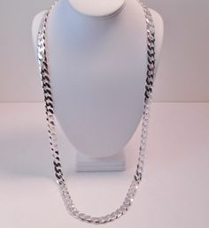 MEN'S ITALY 925 STERLING SILVER DIAMOND CUT FLAT CURB LINK CHAIN BIG BOLD 36""