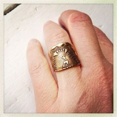 Virgin of Guadalupe Golden Bronze or Sterling Silver Cuff Ring