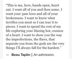 Beau Taplin | An admission.