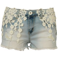 Hot Pant Shorts with Crochet Lace Panel Detailing (£13) ❤ liked on Polyvore featuring shorts, lullabies, micro shorts, mini short shorts, crochet lace shorts, hot pants and hot shorts