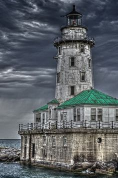 Old Light House on Lake Michigan