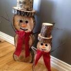 Sneeuwpoppen om zelf te maken met houtschijven