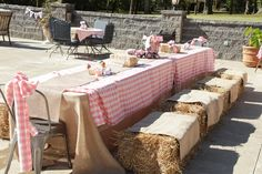 Pink check table cloths, and some farm animal toys as decor. straw bales with burlap sacks as covers! Farm Animal Party, Farm Animal Birthday, Cowgirl Birthday, Cowgirl Party, Farm Party, Farm Style Dining Table, Farm Table Decor, Petting Zoo Birthday Party, Farm Birthday