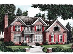 Colonial House Plan with 2685 Square Feet and 4 Bedrooms from Dream Home Source   House Plan Code DHSW05832