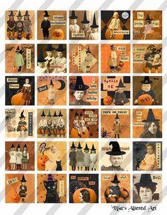 Halloween digital collage sheet Altered art by lisasalteredart