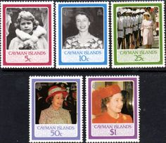 Cayman Islands 1986 Queen Elizabeth II 60th Birthday Set Fine Mint SG 621/5 Scott 555/9 Other Cayman island Stamps HERE