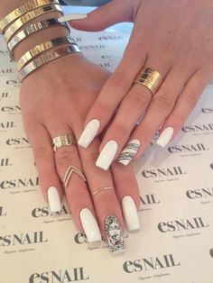 I love white nails. Black Pattern Design. Gold Rings and Bracelets