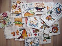 quiltlets - By Jane LaFazio - painted then hand stitched.  Haven't seen these before.  What fun!