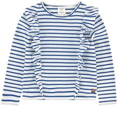 Cotton jersey Pleasant to the touch Crew neck Long sleeves Fancy flounces Stripes Logo plate - ss16