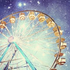 Carnival Photography - Ferris wheel photo stars night sparkly lights indigo blue night sky nursery room decor summer photograph 8x8