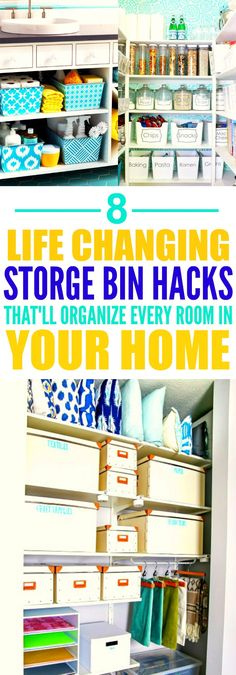 These 8 life changing storage bin hacks are THE BEST! I'm so glad I found these AMAZING tips! Now I have some good ideas on how to organize my rooms! Definitely repinning for later!