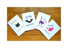 Set of four handmade Halloween greetings cards, each with their own vinyl design: Scaredy cat Cat face Witch Bat .plus our signature modern lettering for that perfect Halloween finish! See our matching stickers available in the store! Halloween Vinyl, Halloween Stickers, Halloween Cards, Halloween Greetings, Foam Crafts, Cat Face, Vinyl Designs, My Etsy Shop, Greeting Cards