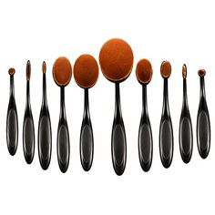 ElleSye Makeup Brushes Professional 10in1 Soft Oval Makeup Brush Set Foundation Brush Concealer Brush Cosmetic Brush with Toothbrush Design for face and eyes  Rose Gold >>> More info could be found at the image url. (Note:Amazon affiliate link)