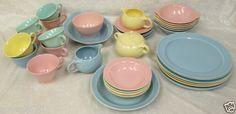 36-Pc-Set-Luray-Pastels-Vintage-Dinnerware-Pink-Green-Blue-Yellow-Mid-Century