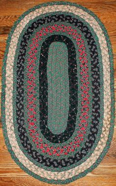 Hand Made Antique Oval Braided Rug 1 8' x 2 10' 1920 | eBay