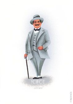 Poster Hercule Poirot Agatha Christie in grey city от MelleMarcel