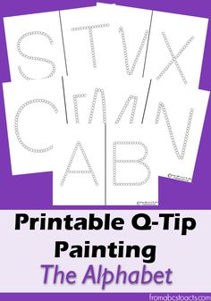 Printable alphabet Q-Tip painting printables for preschoolers Preschool Literacy, Preschool Letters, Learning Letters, Kindergarten, Preschool Ideas, Zoo Phonics, Preschool Crafts, Quiet Time Activities, Alphabet Activities