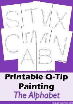 Printable alphabet Q-Tip painting printables for preschoolers