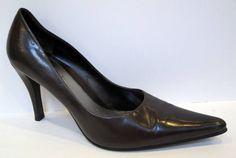 Nine West 'Dougo' Brown Leather Stiletto Pump Size 8M #NineWest #PumpsClassics