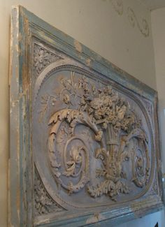 """French boiserie plaster. I have almost the identical panel in oak - bought in Paris, 12/15 yrs ago. I have used it to make a kitchen """"patisserie""""  counter. I will post a pic sometime."""