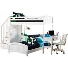 picture of Cottage Colors White Twin/Twin Step Loft w/Desk  from Bunk/Loft Beds Furniture